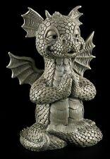 Garten Figur - Drache meditiert - Gothic Fantasy Statue Lustig Yoga