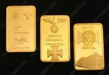 A Set of 3pcs Nazi Cross Empire Eagle Gold Plated Commemorative Bars/Coins Token