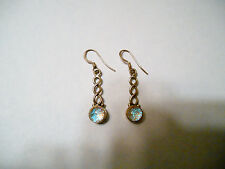 Dichroic Glass Dangle Earrings 925 Silver Blue To Silver French  Hooks