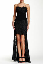 $598 ISSUE NEW YORK EMBROIDERED LACE GOWN SIZE L LARGE BLACK