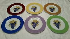 """6 Philippe Deshoulieres 7.25"""" Multicolor Grape Plates Limoges France Very Nice"""