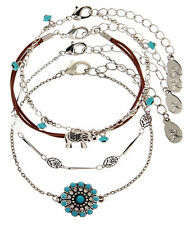 ACCESSORIZE, 4 X COACHELLA FRIENDSHIP BRACELET PACK, SHELL, ELEPHANT