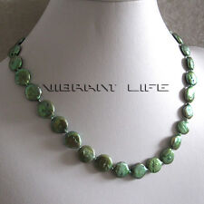 """18"""" 12-13mm Dark Green Coin Freshwater Pearl Necklace U"""