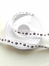 Cute Dog Paw Print Ribbon 15mm wide - per metre - brown paw print
