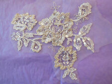 Champagne bridal beaded lace Applique bridal wedding floral lace motif.By piece