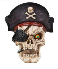 SKELETON SKULL HEAD WEARING A PIRATE HAT WITH A RIGHT-EYE PATCH