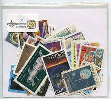 LOT DE 50 TIMBRES THEMES ESPACE  COSMOS DIFFERENTS