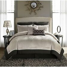 King Size Comforter Set Beige Brown Elegant 8-piece Bedding