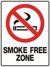 """SIGN """"SMOKE FREE ZONE 5mm corflute 300MM X 225MM"""""""
