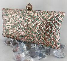Luxury Pillow Evening Purse With Rose/Turquoise/Opal Swarovski Crystal Clutch