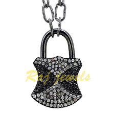 925 Silver Pave 1ct Diamond Padlock Pendant Necklace LATEST 14k Gold Jewelry NEW
