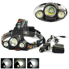 BORUIT 11000Lm 3xXML T6+2R5 LED Rechargeable Headlamp Head Light Torch+2XCharger