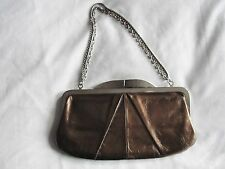 HOBO INTERNATIONAL*BRONZE LEATHER HAYWARD EVENING BAG ORGANIZER CLUTCH PURSE