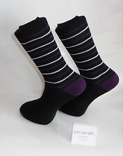 Purple heal & toes with purple & white thin stripes Design Socks - Black Socks