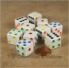 NEW 10 White with Multicolor Pips 6 Sided RPG Bunco Game Dice Set 16mm D6