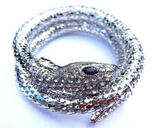 SILVER COILED SNAKE BRACELET cuff bangle serpent Egyptian wrap snek NEW Z3