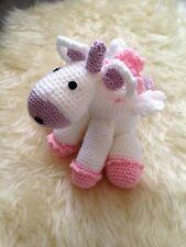 Crochet Unicorn Baby Gift Childs Soft Toy Baby Shower Gift Medium Sized