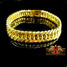 NEW MENS 18K TRIPLE YELLOW GOLD PLATED MIAMI CUBAN CHAIN BRACELET 10MM 8.5 INCH