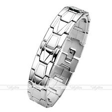 Men's Silver Stainless Steel Link Chain Classic Bracelet Biker Wristband Cuff