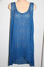 NWT Profile by Gottex Swimsuit Bikini Cover up Tunic Dress Plus Sz 3X Ocean Blue