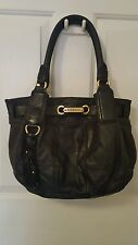Juicy Couture Black Leather Womens Purse Fringe Tassel Goldtone Plate, D-rings
