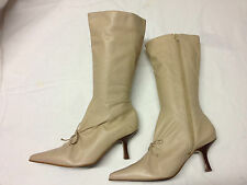 Top Shop Winter Womens beige Leather Zip Pointy knee High Boots New Sz 8 UK 8 42