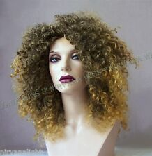 2Tone Brown with Ginger Tips Afro Spiral Curls Fizz  Wig/wigs