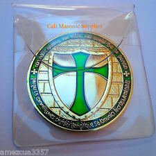 "Knights Templar  Commemorative  Two Sided  Thick Golden Coin 1.5"" Green Enamel"