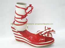 40% OFF! AUTH ELLE RED STRIPES WEDGE SANDALS SHOES SIZE 32 8-9 YO BNWT