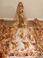 """GOLD MESH ORANGE GOLD BROWN  EMBROIDERY SEQUINS LACE FABRIC 50"""" WiIDE 1 YARD"""