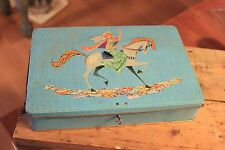 Vintage Jacques Biscuit / Confectionary Tin – Lady on Horse – Colourful Collage