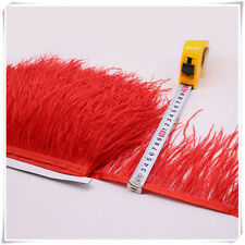 2 Plys Red Ostrich Feather Trims Fringes Sewn on Feather 1 Yard