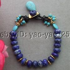 R061011 10mm Faceted Lapis&Turquoise Bracelet