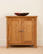 SOLID OAK SMALL COMPACT TWO DOOR CUPBOARD CABINET