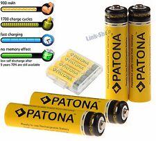 4 Batterie Patona 900mAh Ministilo Ni-Mh AAA Ricaricabili 1.2V Micro Fast Charge
