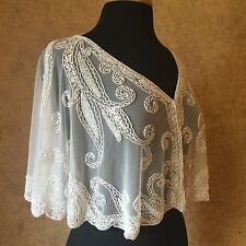 Sequin Beaded Bridal Cape Collar Shoulder Shrug Shawl Applique White Chiffon