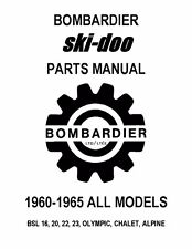 Bombardier Ski-Doo parts manual 1965 BSL 16, 20, 22, 23, OLYMPIC, CHALET, ALPINE