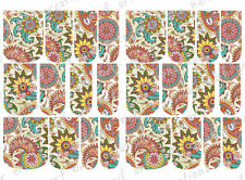 24 FULL COVER Water Slide  Nail Decals * PEACOCK PAISLEY * 12 SIZES  NAIL WRAPS