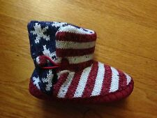 Muk Luks Kids Slippers, Dark Red/Stars/Stripes, Size 18-24 months, new with tags