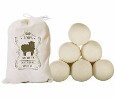 Wool Dryer Balls  XL 6 Pack  MorexLab - 100% Virgin New Zealand Wool