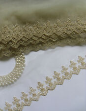 """3-3/4"""" Metallic Golden Embroidery Flowers Netting Lace Trims - Per Yard (T744)"""