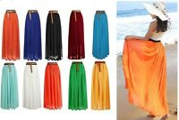 LADIES CHIFFON GYPSY, WOMEN LONG JERSEY MAXI DRESS SKIRT PLEATED 6 8 10 12 14