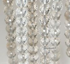 10MM  ROCK CRYSTAL GEMSTONE FACETED ROUND LOOSE BEADS 7.5""