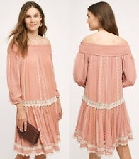 ANTHROPOLOGIE NWT ORCHARD LACE DRESS Off-The-Shoulder Boho Blush Sz XS $178