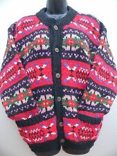 1970s HAND KNIT Wool Button CARDIGAN SWEATER Red Black FAIR ISLE WOMENS SIZE L