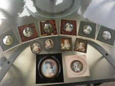 Collection of antique miniature portraits on ivory - all signed 12pc.