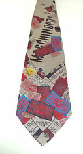 Moschino Monopoloy Money Board Game Parker Brothers Real Estate Silk Neck Tie