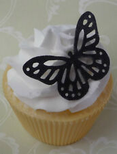 black edible  wafer butterfly cupcake cake toppers wedding birthday 21st 18th
