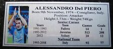 Soccer ALESSANDRO Del PIERO GOLD or SILVER Sublimated Plaque