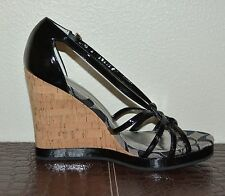 NIB COACH PATENT LEATHER WEDGES SANDALS SHOES EU 37.5 US 7.5